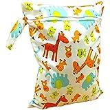 3pcs patrón de jirafa bebé impermeable Zipper Bolsa lavable reutilizable gamuza de bebé bolsa de pañales