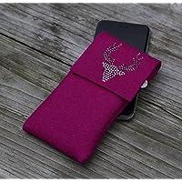 zigbaxx Handyhülle - u.a. für HTC U11, HTC U Ultra / Smartphone-Hülle Wood Star aus Woll-Filz mit Hirsch aus Strass & Studs - pink / anthrazit-schwarz / beige / grau - Geschenk Weihnachten Geburtstag