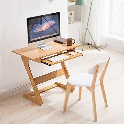 DEO Bureau d'ordinateur Petit bureau d'ordinateur Bureau simple Bureau d'ordinateur à la maison Bureau de petit bureau Bureau d'ordinateur de bureau Avec le clavier durable (Couleur : Wood)