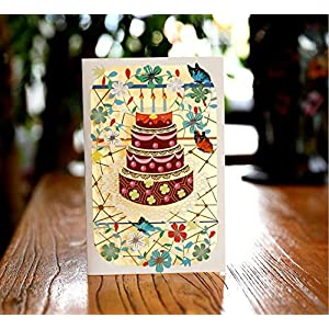 BC Worldwide Ltd Blume Hohl geschnitzten Papier Kunst Geburtstag Kuchen Postkarte Papercraft Geschenk