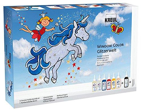 fenstermalfarben Kreul 42844 - Glas Design Set, Window Color mit extra viel farbe und Glitzer, Glitzerwelt