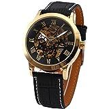 XLORDX Schwarz Skelett Elegante Klassisch mechanische Automatik Herrenuhr Armbanduhr Uhr