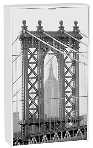 Commode à chaussures de 3 portes laqué blanc motif Brooklyn Bridge, 750 x 242 x 1268 mm -PEGANE-