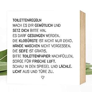 Wunderpixel® Holzbild Toiletten-Regeln - 15x15x2cm zum Hinstellen/Aufhängen, echter Fotodruck mit Spruch auf Holz - schwarz-weißes Wand-Bild Aufsteller zur Dekoration Zuhause/Geschenk-Idee