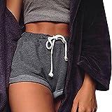 ZARU Damen Freizeitshorts, Bermuda-Shorts mit Tunnelzug | Einfarbig Kurzen Hosen Sommer Strand Shorts Frauen Fitness Sport Hosen (L, Dunkelgrau)
