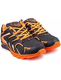 Steemo Men's Black Orange Synthetic Running Shoes - 10 UK