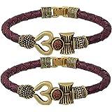 Moksh Spiritual damru trishul om Rudraksh Beads Gold Plated Brown Rope Style Leather kada bracelete fro Mens/Womens and Unise