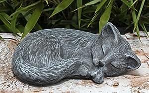 Steinfigur katze schlafend in schiefergrau figur deko - Qs gartendeko ...