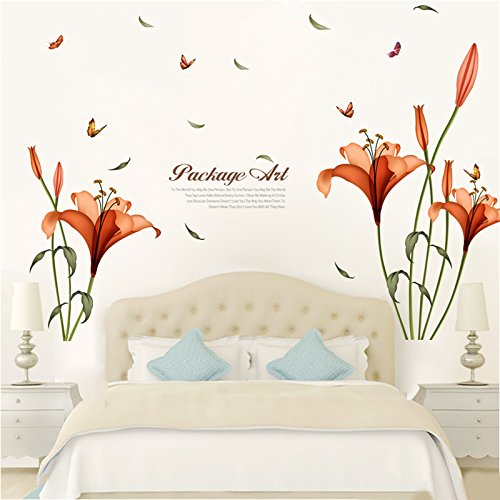 FangKuai FKAL0110 Pvc Orange Flowers Butterfly Leaf Wall Stickers For Kids Rooms Living Room Bathroom Kitchen Decor Wall Decals Poster