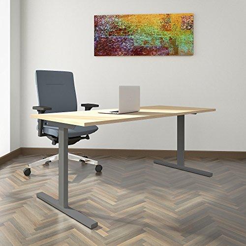 Weber Büro PROFI Schreibtisch 180x80cm T-EASY Ahorn Bürotisch Arbeitstisch Computertisch Büro, Gestellfarbe:Silber