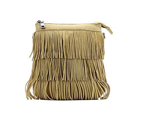 Genda 2Archer Sacchetto di Modo Nappa Borsa a Tracolla Messenger per le Donne (22cm * 5cm * 20cm) Giallo