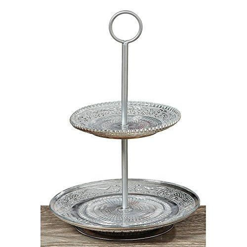 Présentoir à gâteaux en verre style ancien argenté vieilli 28 cm