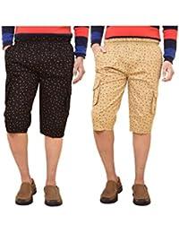 British Terminal Classic Cotton Three Fourth Comfortable Fit Cotton Knee Length Capri For Men / 3/4th Printed...