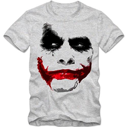 Herren T-Shirt Joker Heath Hollywood Batman Ledger Shirt DTG, Farbe:graumeliert;Größe:XS