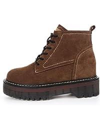 ZHZNVX HSXZ - Zapatos de mujer de cuero auténtico de goma de invierno Botas de moda botas de combate botas de...