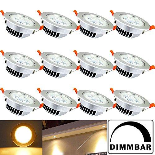 Hengda® 12X 5W LED Einbauleuchte Dimmbar Warmweiß Aluminium für den Wohnbereich Beleuchtung mit Schwenkbar   Einbaulampen   Einbau Strahler  