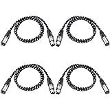 Neewer Pack de 4 Cables XLR DMX de 3 Pins Macho a Hembra 39,4 Pulgadas/ 100 Centímetros para Luces de Escenario LED, Mezcladores, Preamplificadores, Micrófonos y Sistemas de Altavoces(Blanco y Negro)