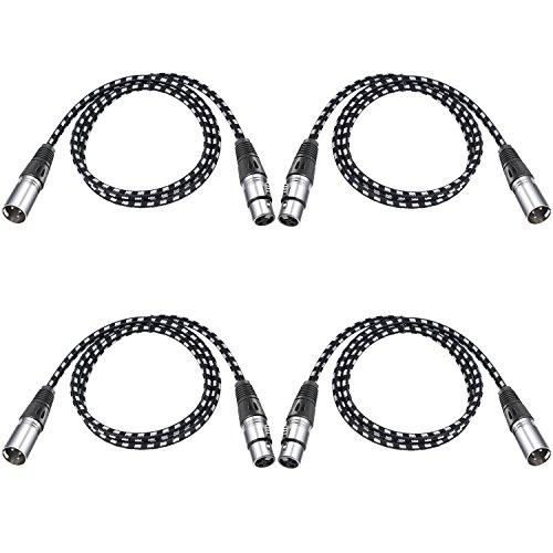 Neewer 4 stück Mikrofonkabel XLR-Stecker auf XLR-Buchse für LED Bühne Licht, Mixer, Vorverstärker, Mikrofone und Lautsprechersysteme,1 Meter (schwarz und weiß)