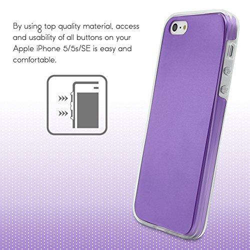 Urcover® Metalloptik Ultra Slim 360 Grad Edition | Apple iPhone 5 / 5s / SE | TPU in Schwarz | Zubehör Tasche Case Handy-Cover Schutz-Hülle Schale Lila