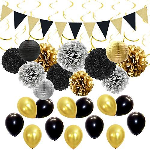 JOYMEMO Schwarz und Gold Partydekorationen Kit mit Papier Pom Poms Laternen, Wimpel Banner, Ballons und hängenden Wirbeln für Geburtstag, Abschluss, Ruhestand und Hochzeitsdekorationen