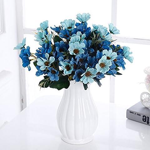 Maivas Décoration en ion en céramique Vase Fleur Rose Jeu de style européen - Fleur fausse Plante en pot de fleurs séchéesBlanc gris foncé, bleu +4 bouteille Cherry Blossoms