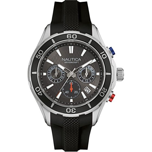 NAUTICA MEN'S 46MM BLACK RUBBER BAND STEEL CASE QUARTZ ANALOG WATCH NAD15522G