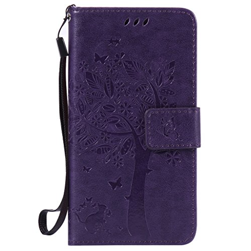 "Nanxi - Custodia di finta pelle colorata, con pellicola salvaschermo, per Samsung Galaxy S6, iPhone 6/6S 4,7"", Ecopelle, purple, Galaxy A5 2016"