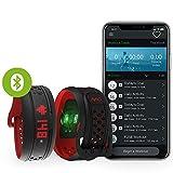 MIO Fuse Activity Tracker mit Schrittzähler- Pulsarmband mit Erfassung von Kalorienverbrauch und Distanz, Fitnessarmband mit Pulsmessung und App - 14,7 - 17,9 cm Handgelenkumfang - Crimson Rot