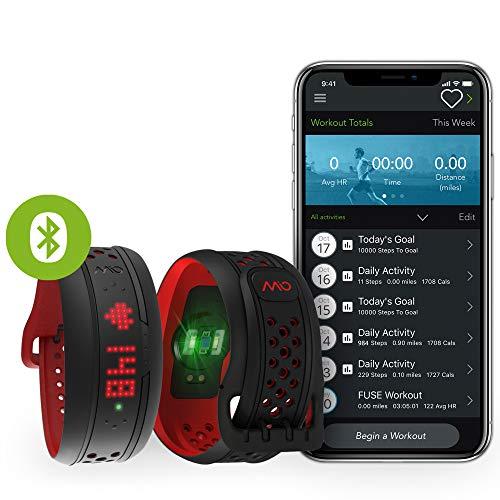 MIO Fuse Activity Tracker mit Schrittzähler- Pulsarmband mit Erfassung von Kalorienverbrauch und Distanz, Fitnessarmband mit Pulsmessung und App - 14,7 - 17,9 cm Handgelenkumfang - Crimson Rot -