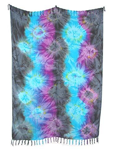 Sarong Pareo IV grau-hellblau-violett/große Auswahl schönste Farben/Wickelrock Strandtuch Sauna-Tuch Wickelkleid Schal Wickeltuch Bademode Freizeitmode Sommermode/aus 100% Viskose
