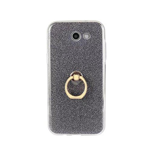Luxus Bling Sparkle Style Case, Soft TPU [Silikon] Flexible Glitter Rückentasche mit Fingerring Stand [Anti Scratch] [Shockproof] für Samsung Galaxy J3 2017 (J320) ( Color : White ) Black