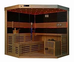 saunakabine sauna komplett sauna ecksauna massivholz traditionelle sauna ts 4024 200 200 210. Black Bedroom Furniture Sets. Home Design Ideas