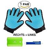 amathings 1 Paar = 2 Fellpflege-Handschuhe In Hellblau zur einfachen Entfernung loser Tierhaare, Massage für Hund & Katze PLUS Zeckenzange & Floh-kamm Hellblau