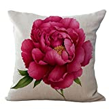 Cikuso Vintage Floral/Flor de Lino Decorativo Throw Pillow Case Funda de cojin Inicio Sofa Decorativo Rosa