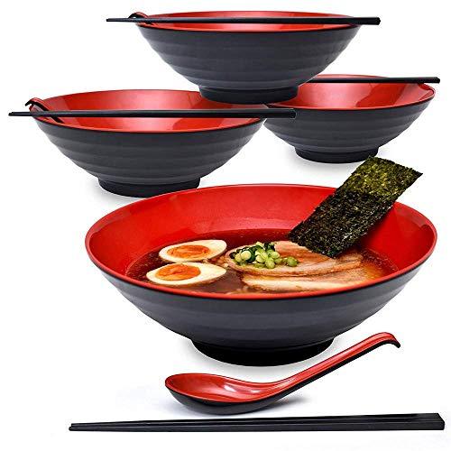 Schüssel im japanischen Stil Suppenschalen mit Essstäbchen und Löffel-Set - groß, 42 oz für Ramen-Nudeln, Pho Udon oder jede Suppenmahlzeit ()