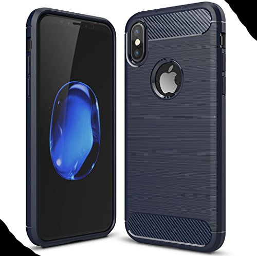 iPhone8 7 Plus Soft Carben Fiber Case, Very Light Slim Lines Style Soft Good Hand Feeling, WEIFA 2017 Newest Super Cool Anti-Drop Protection CellPhone Cover Case For iPhone 8 7Plus Black !Blue