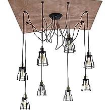 Lonfenner Vintage Lampadario industriale piccola lampada ferro Lampadario ristorante tabella 8 retrò Cafe arte lampada a sospensione a luce 80 * 50cm