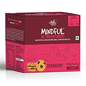 EAT Anytime Gluten Free Protein Cookies, Cranberry, 160g (Pack of 8)
