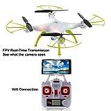 2016 Syma X5HW Nuevo producto (actualización de la popular Syma X5SW) 2,4 6-Axis Gyro Wifi FPV con la cámara de HD RC Quadcopter Drone incluye una función efectiva de mantenimiento de altitud para volar muy fácil para los principiantes (Color: Blanco)