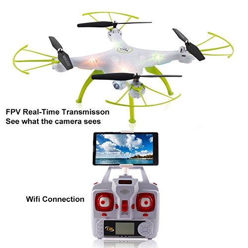 2016 Syma New Product X5HW (besser als X5SW) 2,4-GHz-Wireless-LAN FPV mit 2MP HD-Kamera High-Hold-Modus 6-Achsen-Gyro Headless Modus RC Quadcopter RTF (Farbe: weiß)
