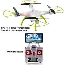 2016 Syma X5HW Nouveau produits (mise à niveau de la populaire Syma X5SW) 2.4GHz 6-Axis Gyro Wifi FPV avec appareil photo HD RC Quadcopter Drone comprend une fonction efficace de maintien d'altitude au volant très facile pour les débutants (Couleur: Blanc)