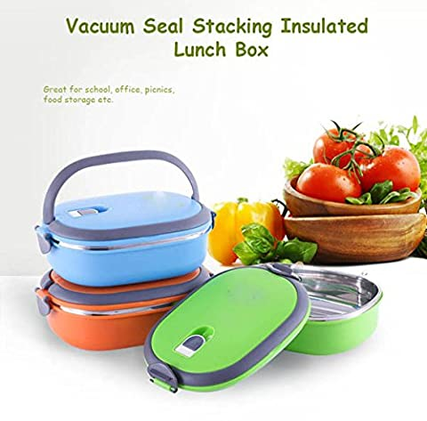 Vacuum Seal Stacking Insulated Lunch Box en acier inoxydable d'isolation thermique Bento Box double poignŽe Container