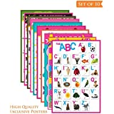Paper Plane Design Kid's Educational Set of 10 Multicolour A3 Poster Unframed Thick Paper with Tape (12 x 18 Inch)