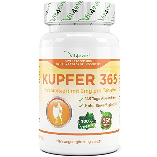 Kupfer 365 - 2mg elementarem Kupfer pro Tablette - 365 Tabletten - Vegan - Hohe Bioverfügbarkeit - Kupfergluconat - Vit4ever