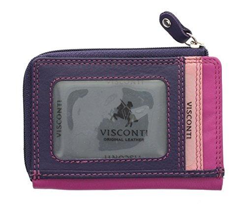 Porta carte di credito sottile di pelle.Visconti collezione Rainbow PHI PHI RB110 Verde Multi Bacca Multi