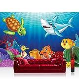 Fototapete 254x184 cm PREMIUM Wand Foto Tapete Wand Bild Papiertapete - Kinder Jugend Tapete Ozean Wasser Märchen Fisch Schildkröte Hai bunt - no. 4531