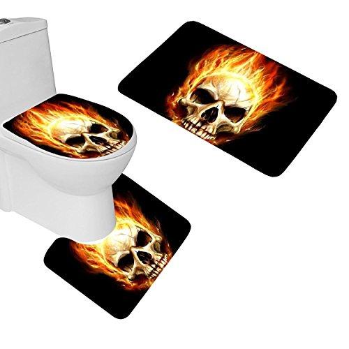 RedBeans 3-Teiliges Badezimmer Matten Set Flaming Skull Badteppich Set rutschhemmender Badezimmer Teppiche Contour Matte WC-Bezug