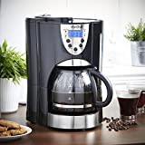VonShef Digital Filter Coffee Maker with Integrated Grinder and Reusable Filter, 1000W, Programmable, 10 to 12 Cup