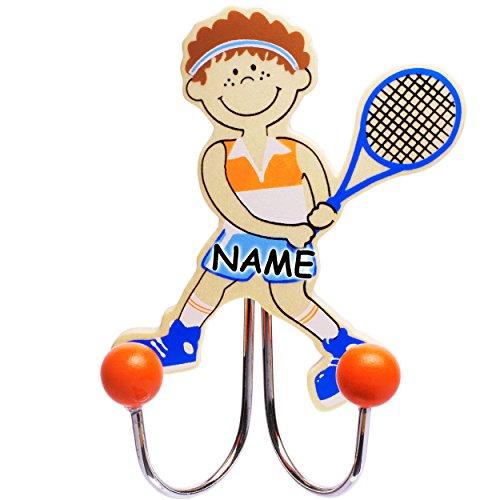 alles-meine.de GmbH 3 Stück _ Garderobenhaken -  Sport - Tennis Spieler  - incl. Name - aus Holz & Metall - Doppel Wandhaken / Kindergarderobe mit 2 Kleiderhaken - Kind Wandgar.. (Tennis-spieler)