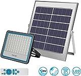 LEDMO Faro LED da Esterno 100W 6000k Bianco IP67 Impermeabile Freddo con Telecomando Pannello Solare Fotovoltalco Energia